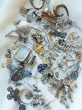 Metal Jewelers Scrap Lot Silver, Gold, stones, beads w jar repurpose craft