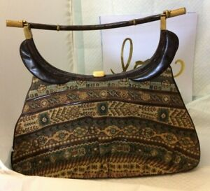 Rare Vintage Harry Rosenfeld Tapestry & Leather Hand Bag/Purse Large 1950's