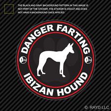 Danger Farting Ibizan Hound Decal Self Adhesive Vinyl dog canine pet
