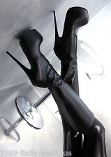 1969 ITALY LEDER HOHE Stiefel Plateau Schwarz CD1 Boots Best Leather High Heels