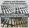 """234 x Sticky Letters and Numbers 1"""" , Self-Adhesive , Plastic Vinyl Lettering"""