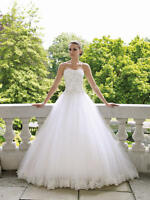 UK Stocks Lace Ball Gown Wedding Dress Size 8 10 12 14 16 18 20 Custom Made