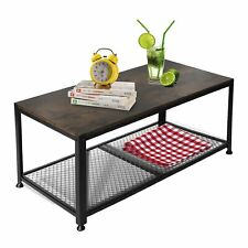 2 Tier Industrial Coffee Table with Storage Shelf for Living Room Home Decor
