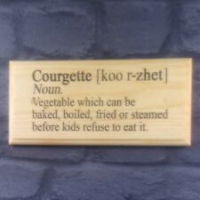 Courgette Definition - Gift Plaque Sign Funny Home Garden Kids Dictionary 297