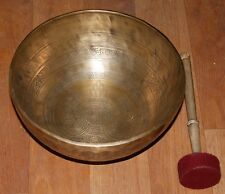 LARGE ETCHING/CARVING HAND HAMMERED  28 CM FLAT SINGING BOWLS