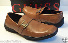 GUESS Men Size 8.5 Loafers Brown GMCARVER Faux Leather Slip On Shoes