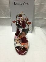 ladies shoes Laura Vita Vapeur rose floral  size 9/40 Made In France