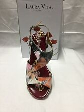ladies shoes Laura Vita Vapeur rose floral  size 9 Made In France