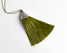 Silky tassel with chrome colored top and black bead for purses, craft