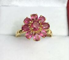 14k Solid Yellow Gold Cluster Flower Ring, Natural Pink Tourmaline,Sz 7.75.
