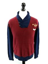 RALPH LAUREN Boys Jumper Sweater 18-20 Years XL Burgundy Blue Cotton & Polyester