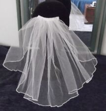 1 TIER FLUTED EDGE SILK WHITE BRIDAL VEIL, 25 cm,CROPPED RUFFLE, NEW,Australian