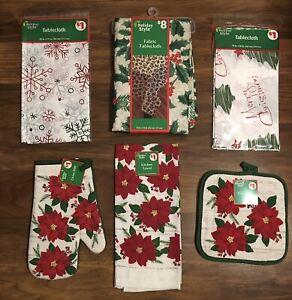 Christmas Kitchen Pot Holder, Towel, Tablecloth Set