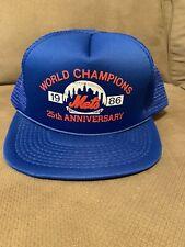 Vtg NOS 1986 New York Mets World Series Champions Mesh Trucker Hat MLB Cap Blue