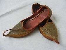 Victorian Siam Shoes Ethnic Footwear Leather Metal Thread Coils Vintage Footwear