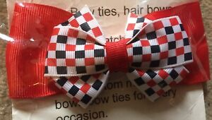 girls handmade Chequered and red double Bow