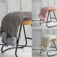 New Pompom Knitted Throw Blanket Sofa Bed Home Office Warm Nap Blanket 130*160cm