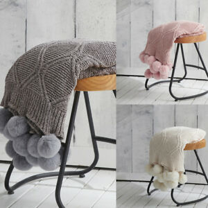 Thick Knitted Pom pom Throw Blanket Sofa Bed Office Cover Nap Soft Warm Blankets