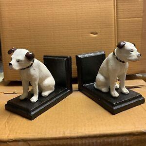 Cast Iron Book Ends HMV Nipper Dog Bookends