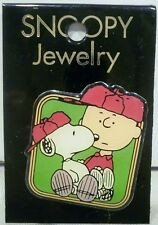 Peanuts Snoopy & Charlie Brown Wearing Red Baseball Caps Lapel Pin