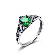 Russian Emerald Green Crystal Ring Genuine 925 Sterling Silver Engagement Rings