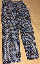 JM Collection Blue White Geometric Pull On Elastic Waist Casual Pants Petite PM