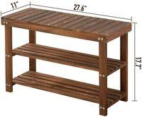 Shoe Bench Rack 3-Tier Shoe Organizer Pine Wood Entryway Storage Shelf Unit Seat