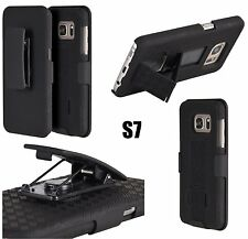 Samsung Galaxy S7 - HARD HOLSTER KICKSTAND COMBO CASE COVER with BELT CLIP BLACK