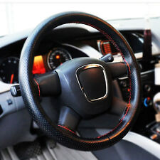 Good Car Truck Leather Steering Wheel Cover With Needles and Red Thread Black
