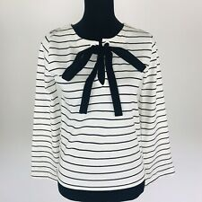 J.CREW NWT Ivory Black Velvet Tie-Front Top Blouse Striped Size S Small