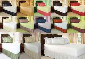 "1PC MICROFIBER SOLID BEDDING BED DUST RUFFLE SKIRT 14"" DROP BETWEEN MATTRESS"