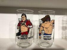 1990 Wwf Wrestling glasses Brutus & Ultimate Warrior