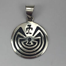 Sterling Silver Hopi Style Engraved Man in the Maze Round Circle Pendant