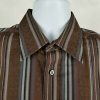 Bugatchi Uomo Mens Brown Black Striped Dress Button Shirt Sz Large L