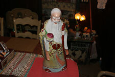 Chinese Porcelain Pottery Statue Religious Spritual Man Smiling-Cane Fruit Color