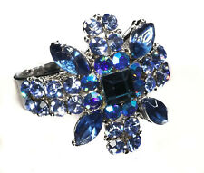 New Silver Tone Vintage Style Sapphire Blue Colour Austrian Crystal Flower Ring