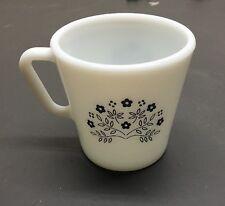 Vintage Pyrex Milk Glass Navy Blue Summer Impressions Coffee / Tea Cup Mug! 1410