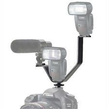 V Shape Hot Shoe Triple Mount Bracket for SLR DSLR Camera Flash Mic DEL Light
