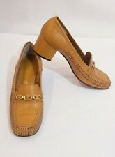 "Florsheim Ladies golden heeled tan loafer 6 AA  Golden smooth leather 2"" pumps"