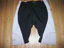 Garneau Shorts Tri Triathlon Womens Medium Nylon Spandex Black Gray White Pink