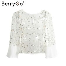 Sexy Transparent Mesh Floral Embroidery Tops Blouse Summer Flare Sleeve T-Shirt