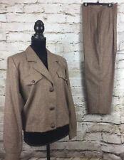 Womens Casual Corner Brown Pantsuit Plaid/ Tweed Size 10 Petite