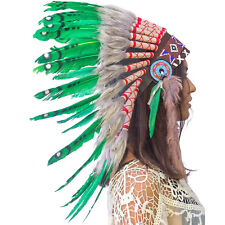 CLEARANCE PRICE! Native American Indian Style Feather Headdress - Green Duck