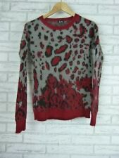 BARDOT Top Sz AU 8 Red, Black, Gray Leopard Print Angora Mix
