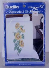 """Sunflowers Cross Stitch Stamped Pillow Cases 20 x 30"""" One Pair Bucilla 64236"""