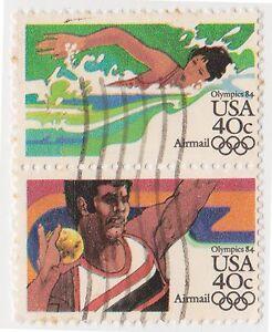(UST-424) 1982 USA 40c pair mixed Olympics air mail (N)