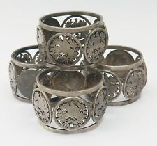 4 Antique Victorian 835 Silver Napkin Rings Cutout 2 Reales Guatemala Coins