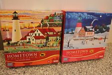 (2) Hometown Collection 1000 Pc Jigsaw Puzzles Trick /Treat At The Light B4 Xmas