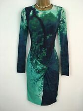 TED BAKER Dress Bodycon Long Sleeve Green Blue Stretch Midi Knee Size 0 Uk 6