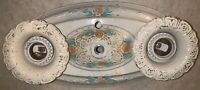 Vintage Tin Metal Painted Two Light Fixture - Ceiling Sconce Shabby Floral